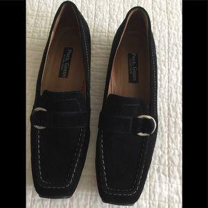 Paul Green black suede loafer w/ silver buckle